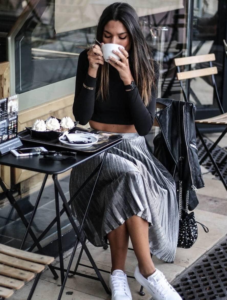 Shimmer Skirt And Black Shirt
