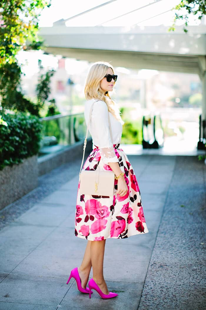 Knee-length, Popping Print Skirt Bold Colors