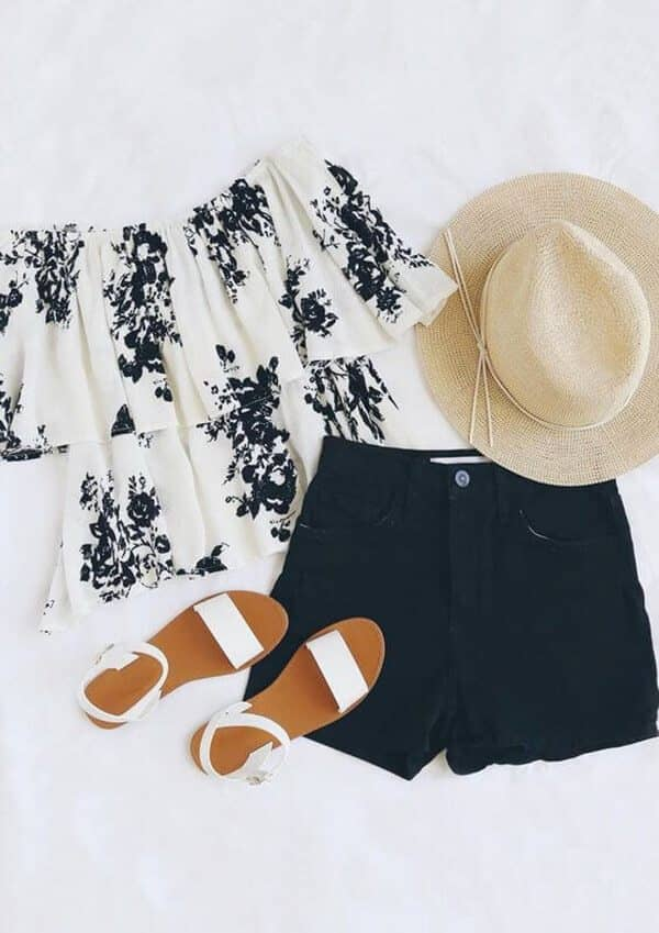 Black-and-white, Off-the-shoulder Ruffle Top