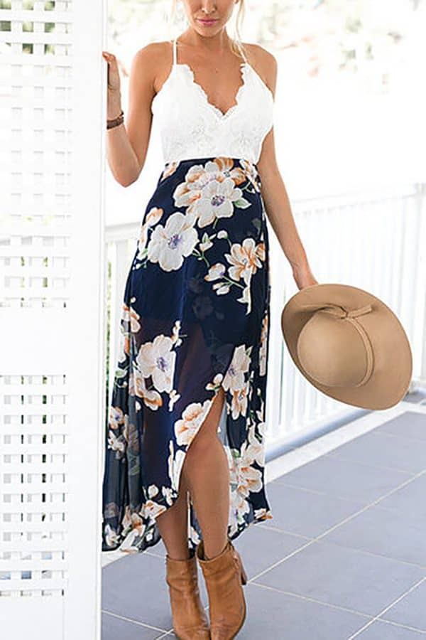 Lacy, Floral Halter Dress