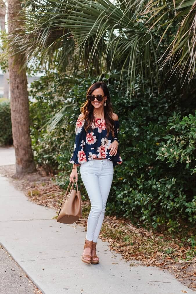 Floral, Off-the-shoulder Crop Top