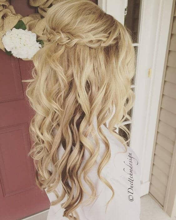 Braided Crown And Flowing Curls