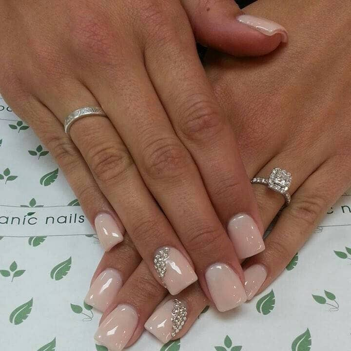 Simple Pink Wedding Nail Art