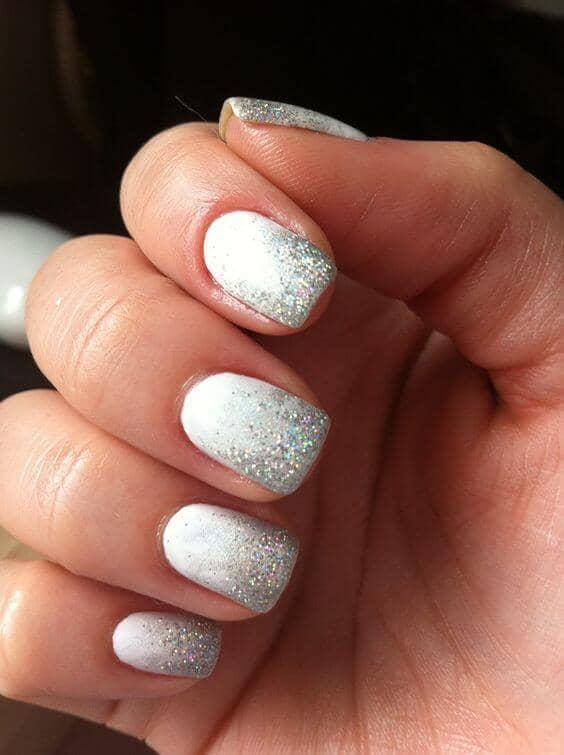 Glittering Silver Nail Art