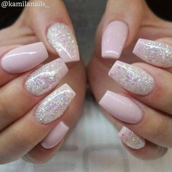 Pink Nails with White Pattern