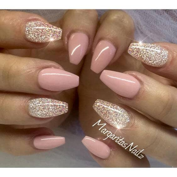 Glittery Nude and Gold Nails