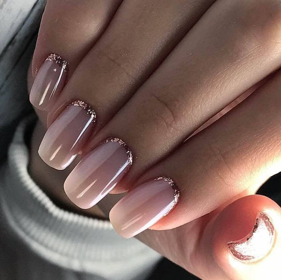 Reverse French Manicure in Rose Gold