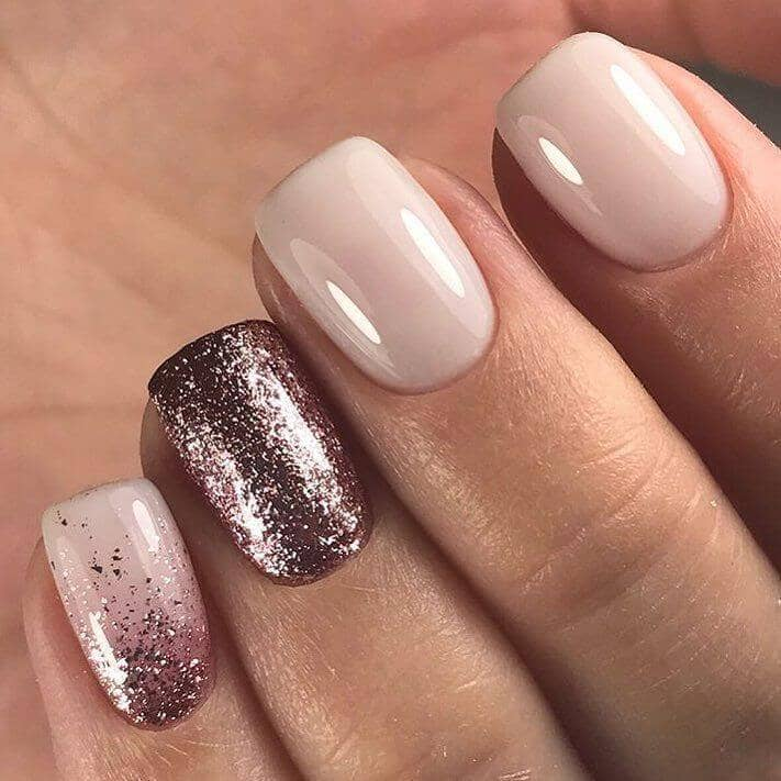 Alluring Ivory and Plum Glitter Wedding Nails