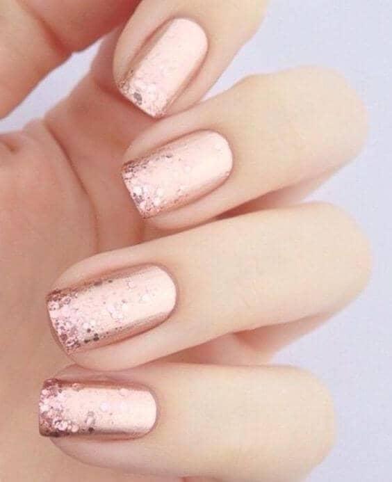 Pink Chrome and Glitter Designer Nails