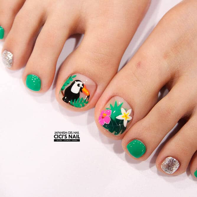 45) Nature on Your Toe Nails - 50 Cute Summer Toe Nail Art And Design Ideas For 2018