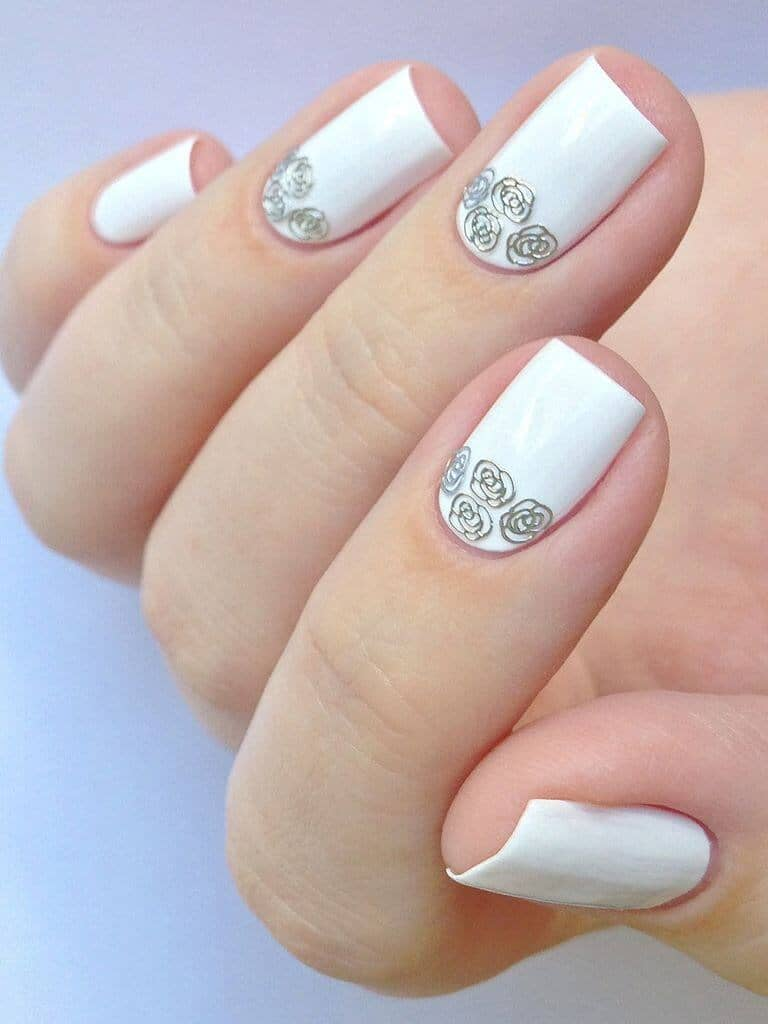 White Wedding Nails with Rose Art