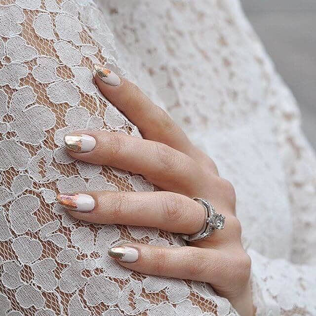 Acid Wash White and Gold Nail Design