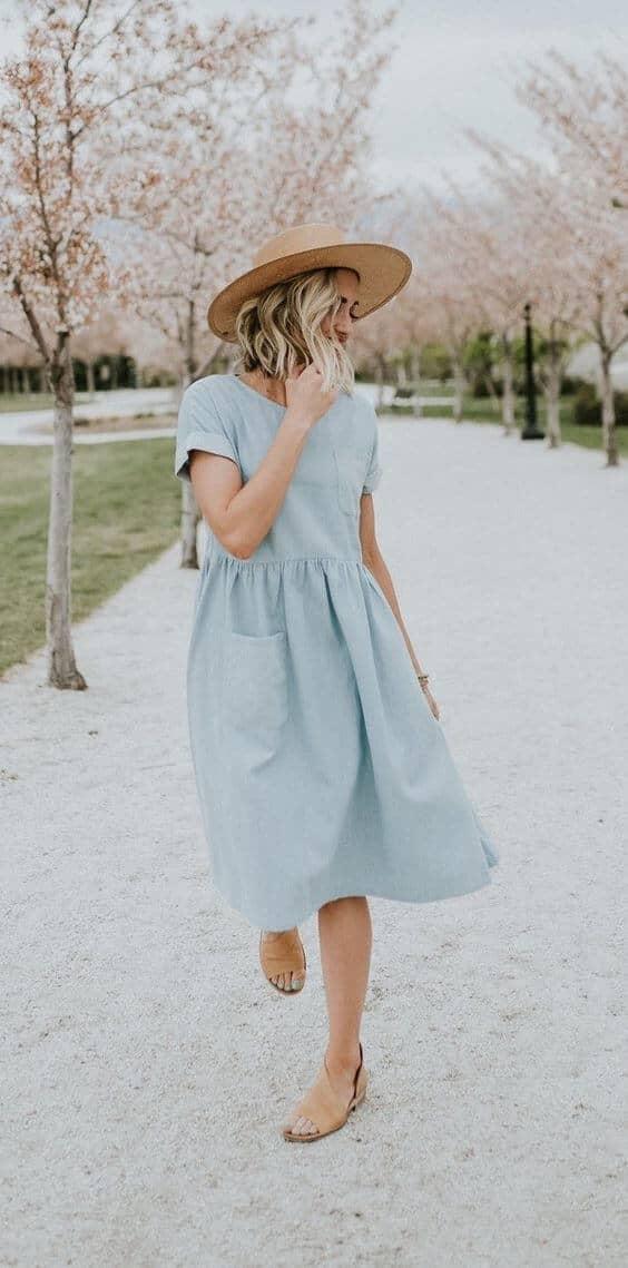 50ad3302a12 3)Baby Blue Short-Sleeve Pocket Dress