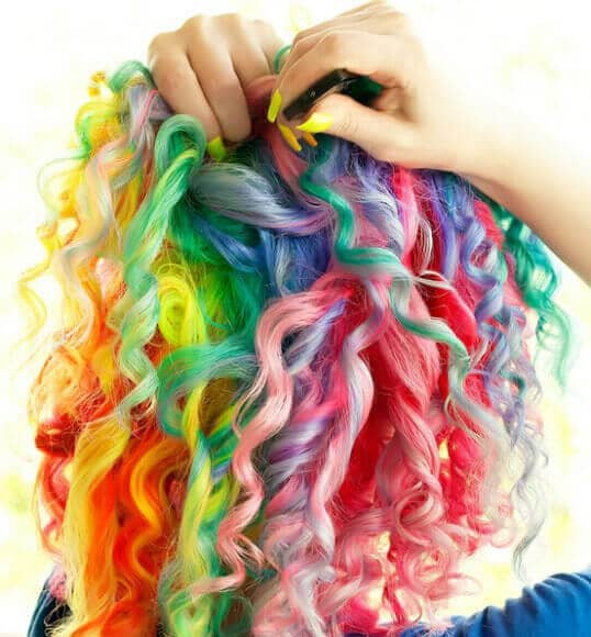 Fabulous Unicorn Hair with Multicolored Corkscrews