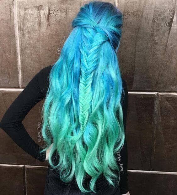 Stunning Mermaid Hair in Blue and Green