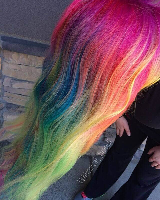 Rainbow Unicorn Hair in Gentle Waves