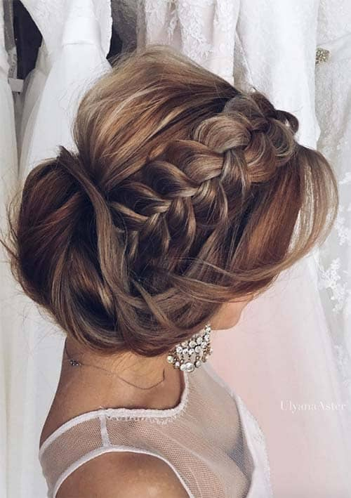 Stylish side braid with hair pinned up