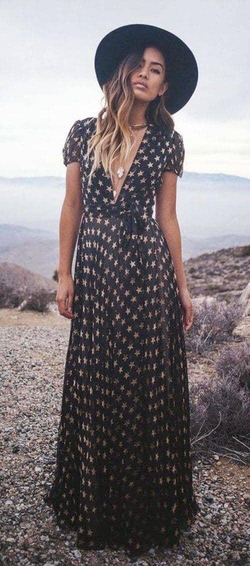 Patterned Black Maxi Dress for Maximum Style