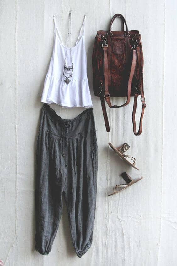 Baggy Pants and Gauzy White Tank Top with Brown Backpack and Sandals