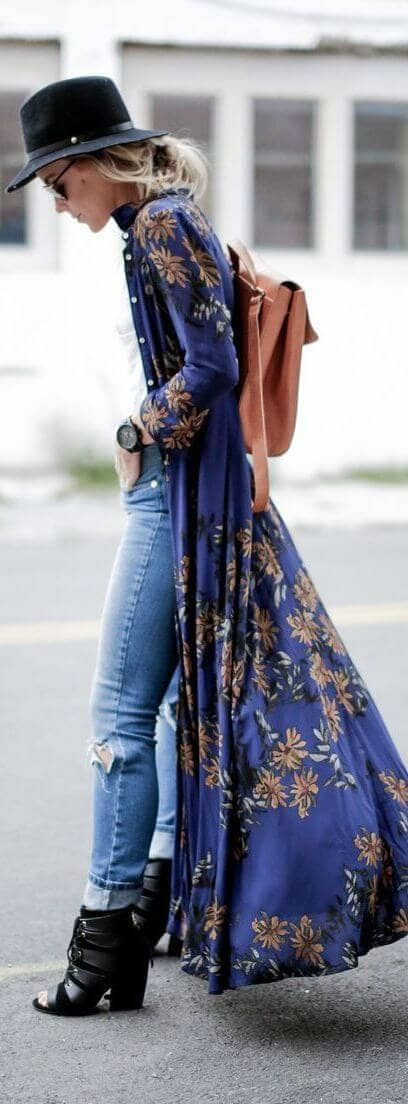 Opened Blue Maxi Dress with White Tee and Destroyed Denim Cutoffs