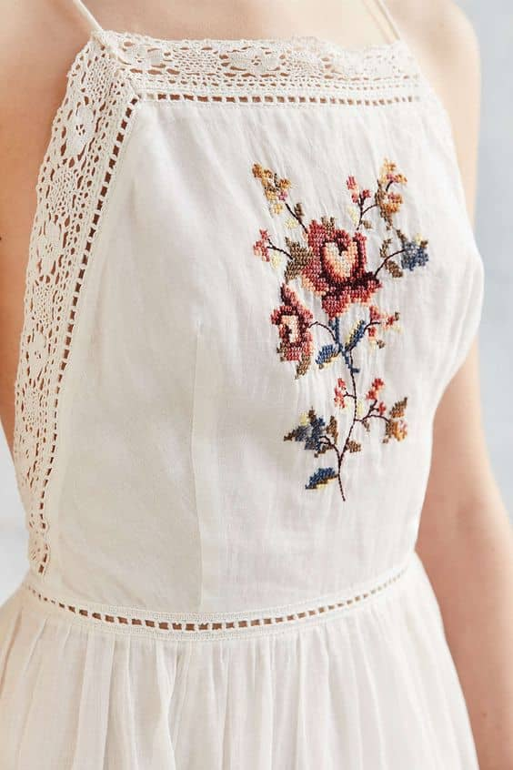 White Dress with Cute Flower Embroidery