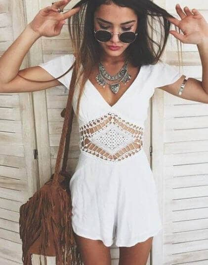 White Bohemian Playsuit with Vintage Bag
