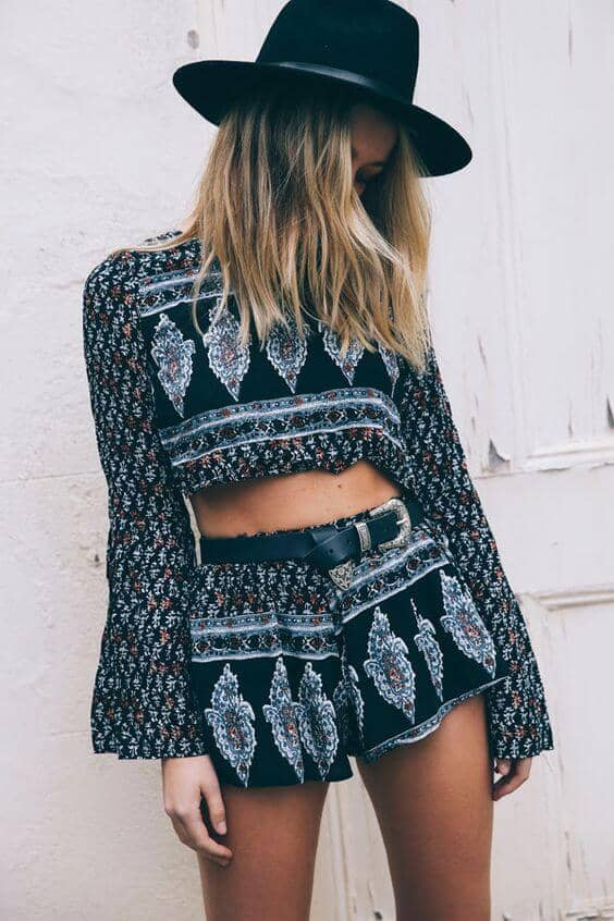 Patterned Tops with Long Sleeves and Shorts
