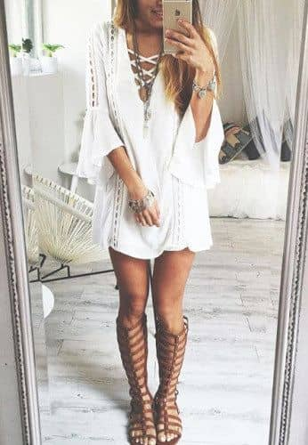 Lace Up Dress with Under the Knee Boots