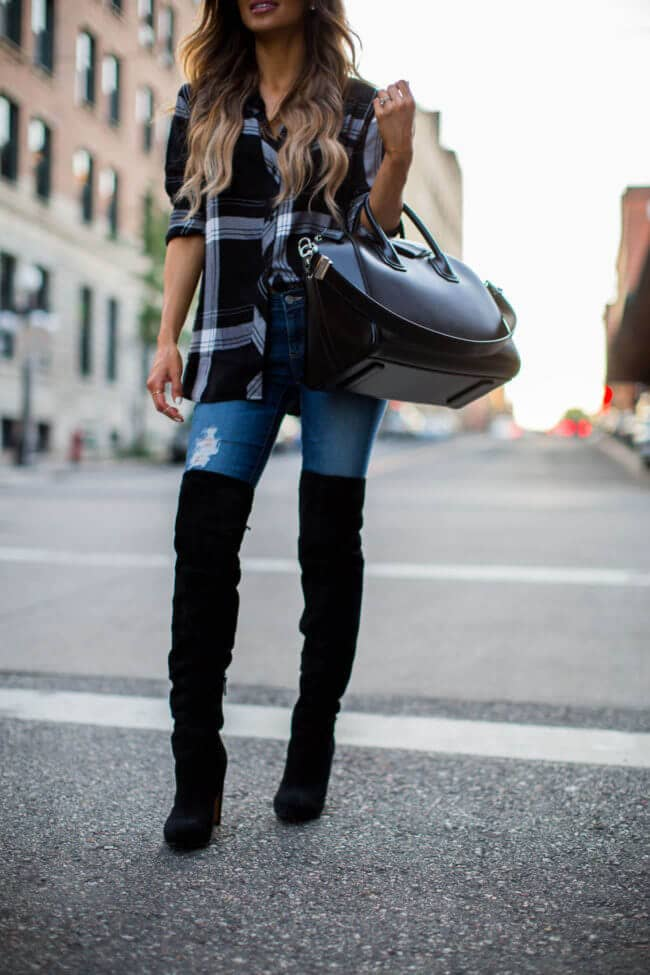 8996480fdbe 4) Take The Platform Black Boots Outfit