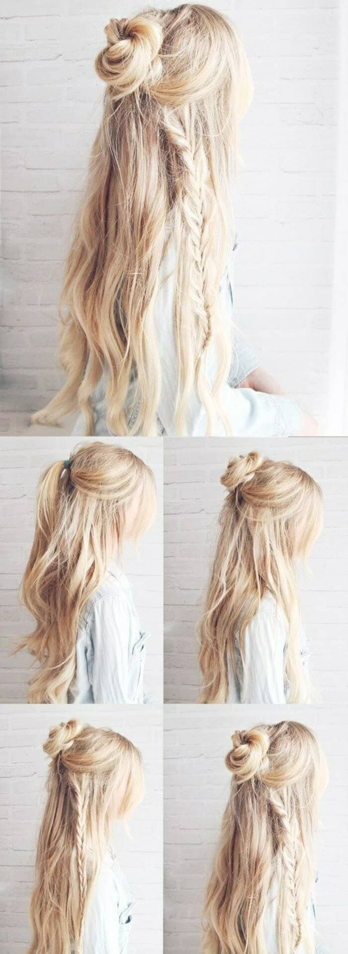 Easy Hairstyle With Half-Up Bun and Braid
