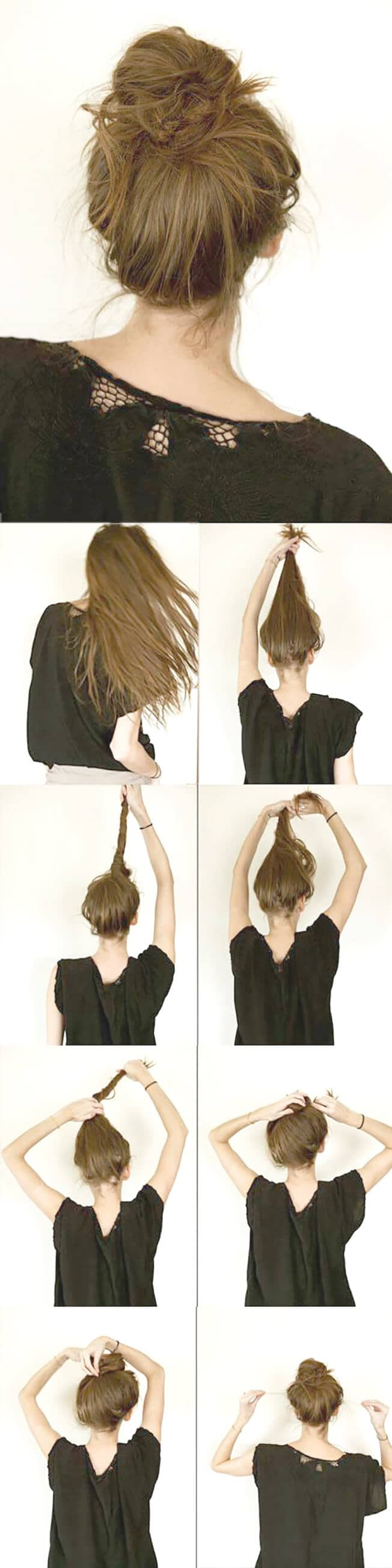 Simple Messy High Bun