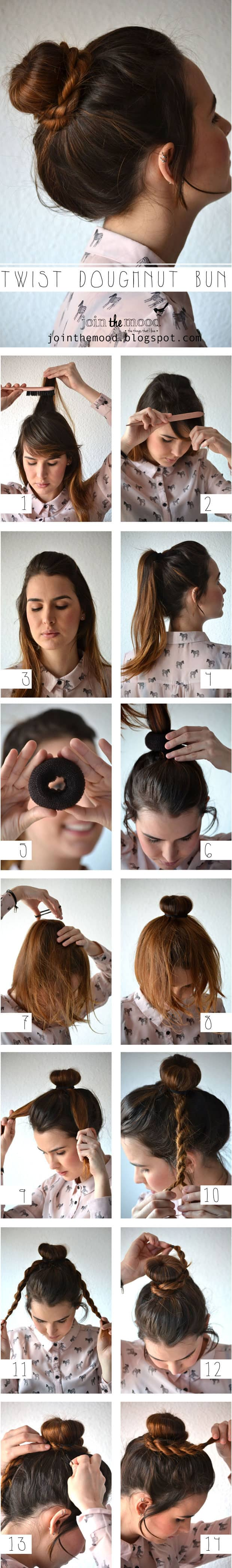 Twist-wrapped Donut Bun Updo Hairstyle