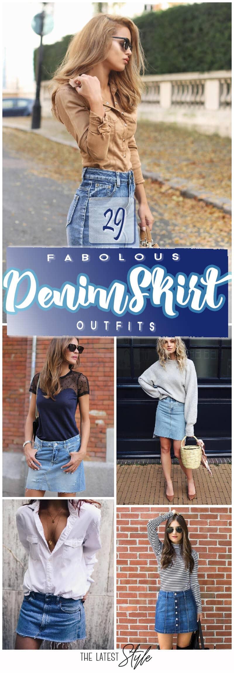 29 Fabolous Denim Skirt Outfits For This Autumn