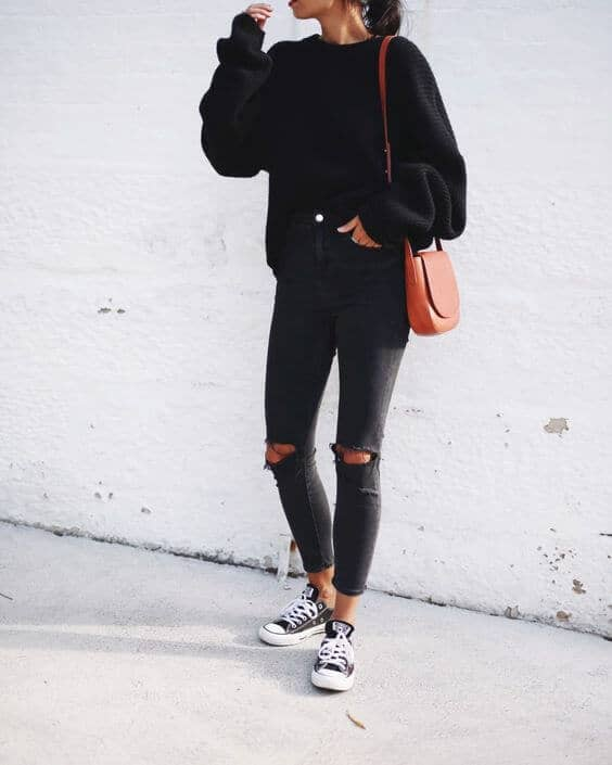 Impromptu and Casual Black Jeans Outfit On-The-Go
