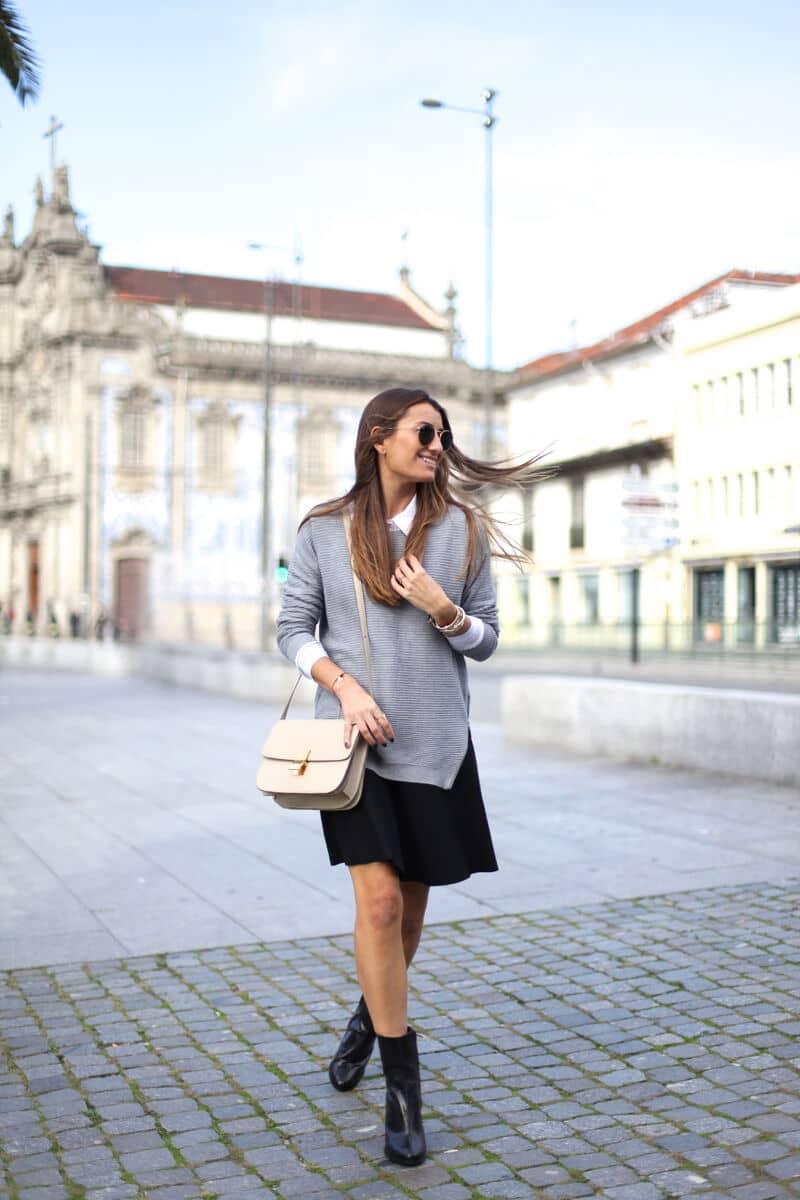 Knee-length Black Skirt with Modern Sweater