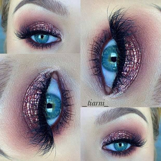 Sequin Sparkle Showgirl Eyes with Feather Fringe