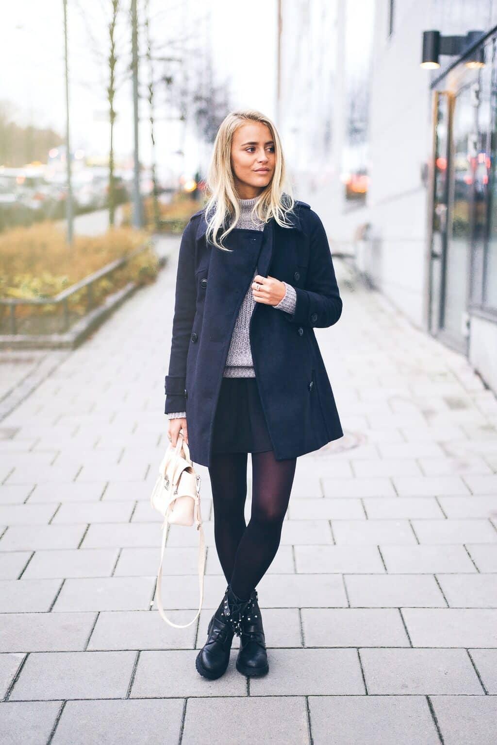 Black Miniskirt With Chunky Sweater