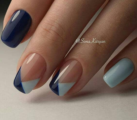 Color Blocking French Manicures