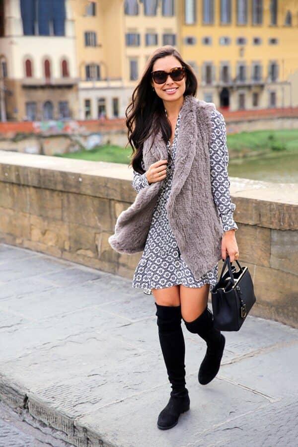 Patterned Dress With Faux Fur Statement Vest