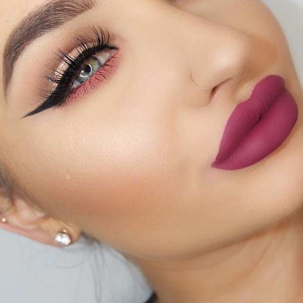 Dramatic Matte Lip + Cat Eye Look