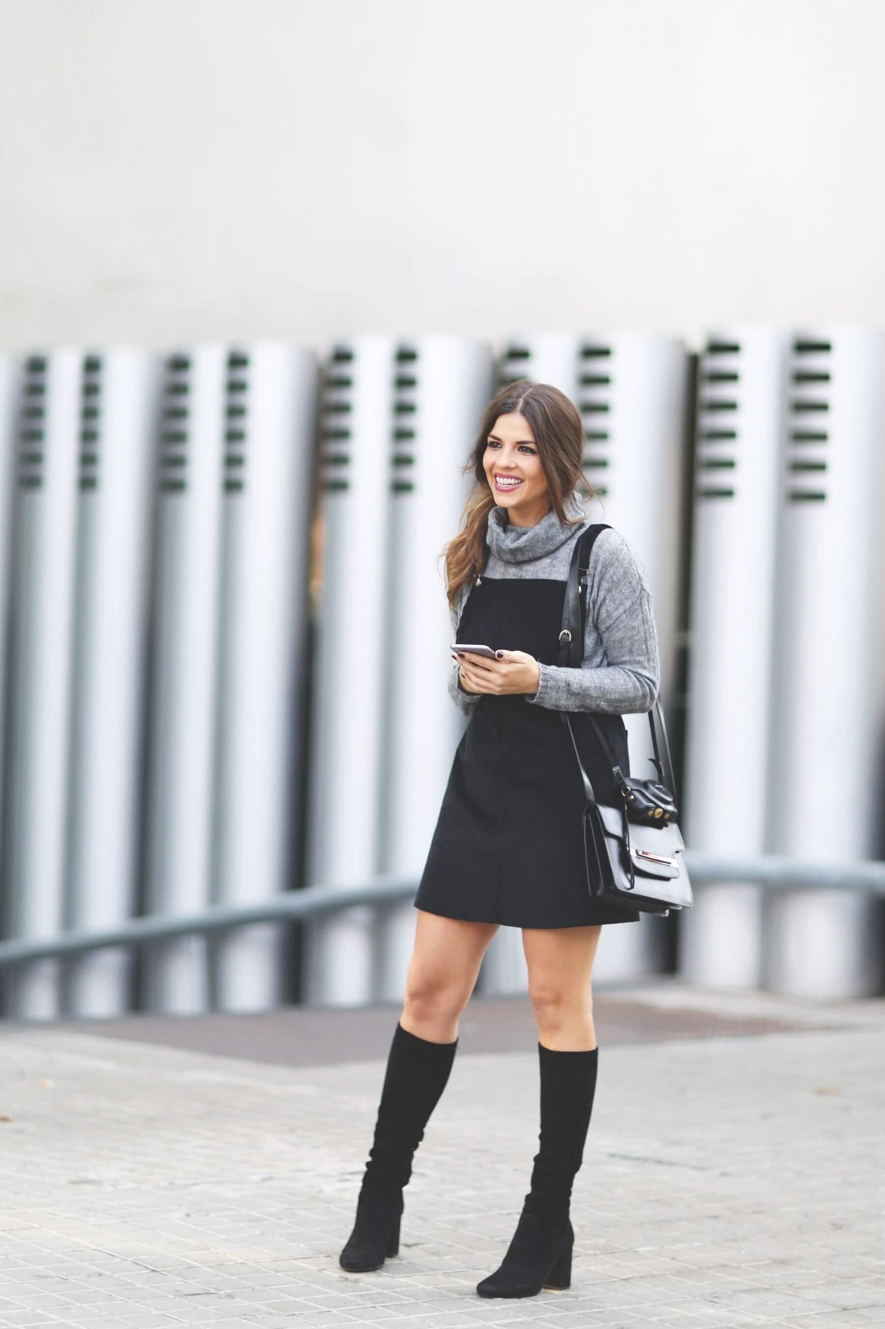 Overall-style Miniskirt With Turtleneck