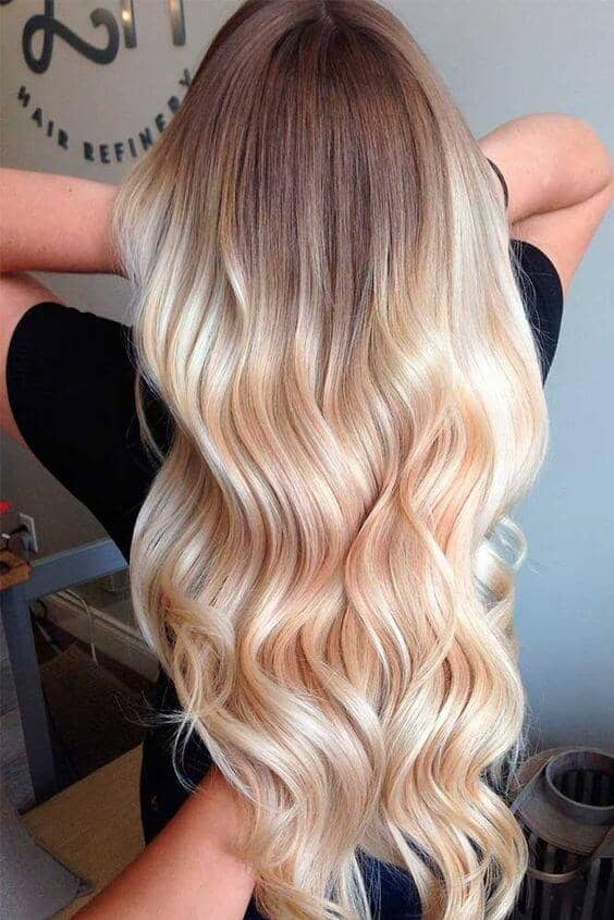 A Glamorous take on golden blonde ombre hair