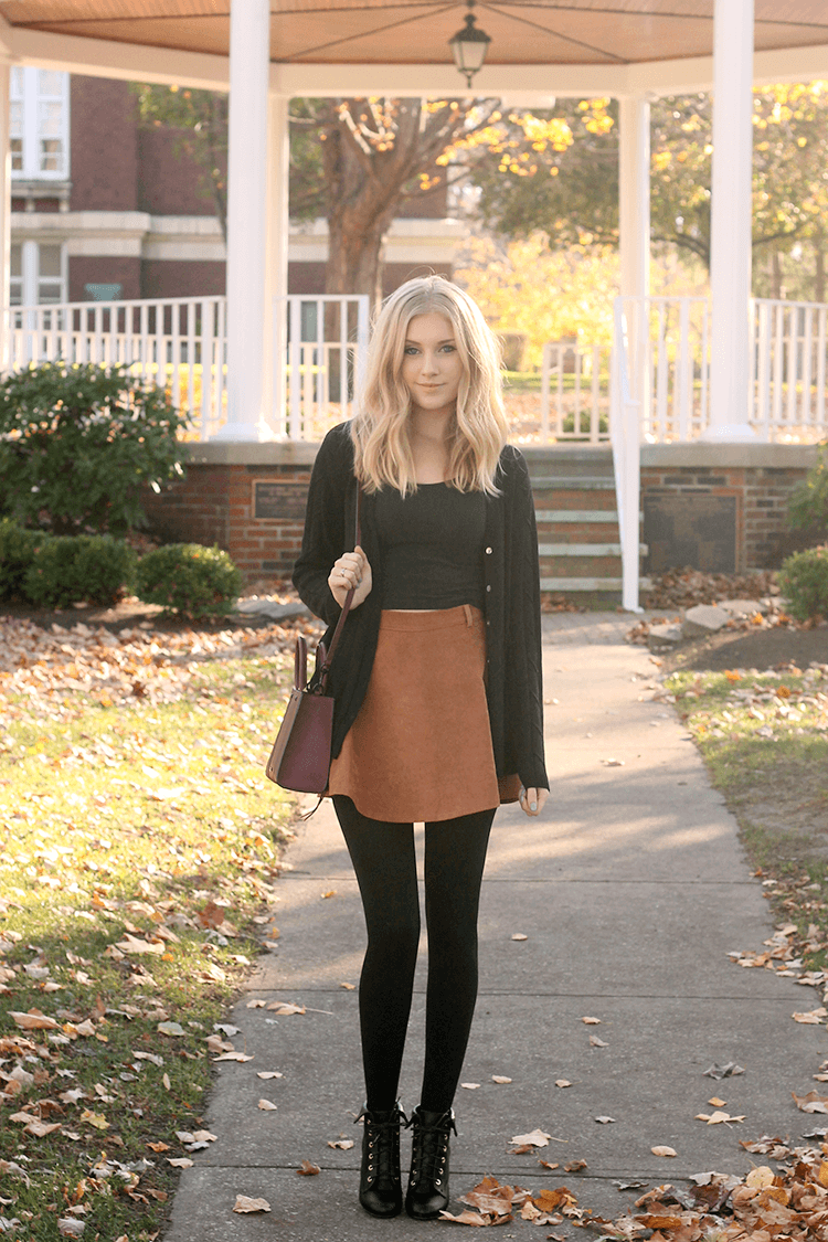 Flared Brown Miniskirt With Tights