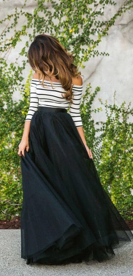 Black Tulle And Fitted Stripes