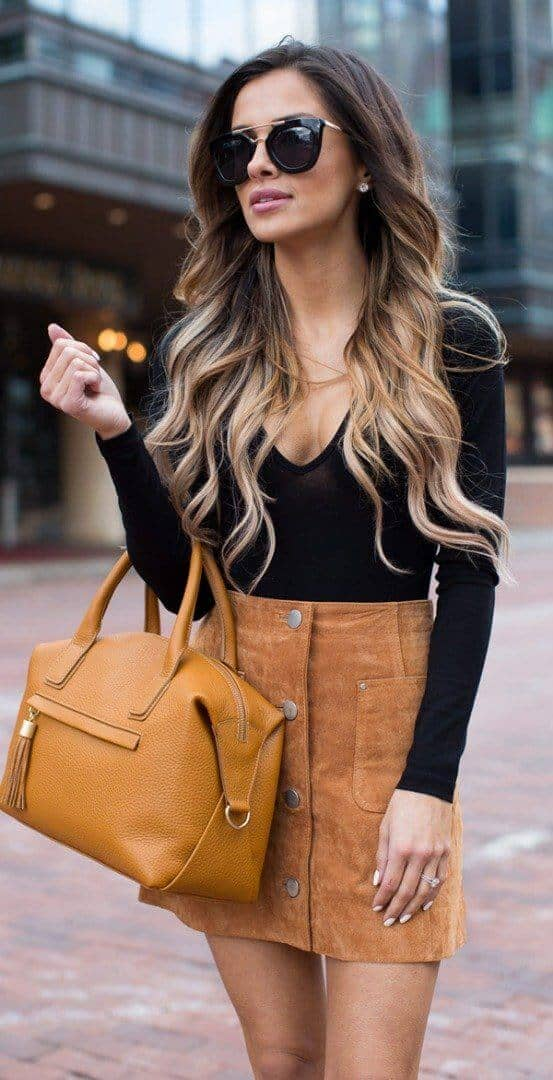 Button Front Leather Miniskirt V-neck Top