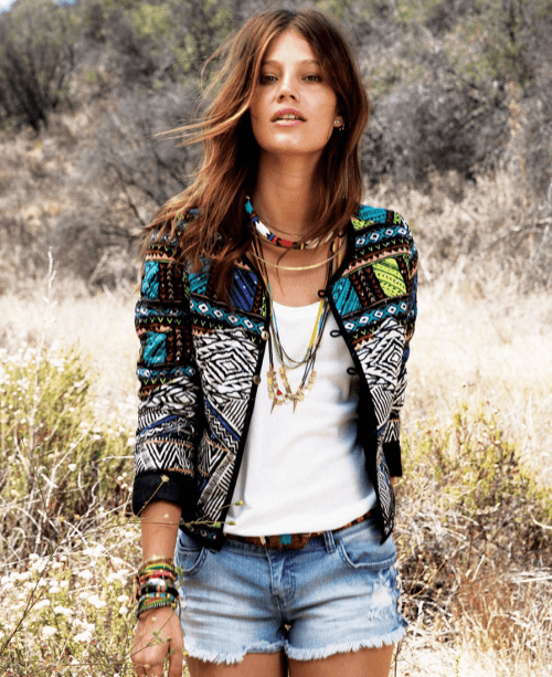 Aztec Dreams And Ripped Jean Shorts