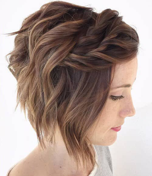 Messy Sideswept Braided Bangs