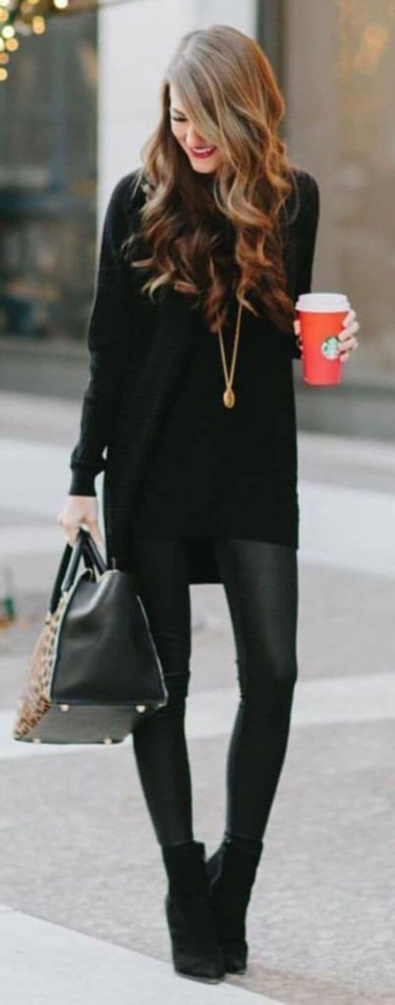 All Black with a Loose Sweater