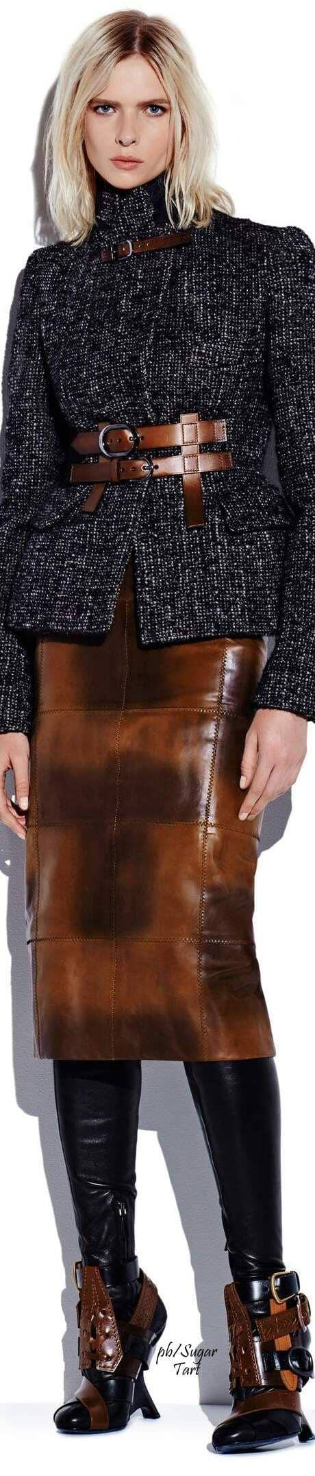 Paneled Brown Pencil Skirt