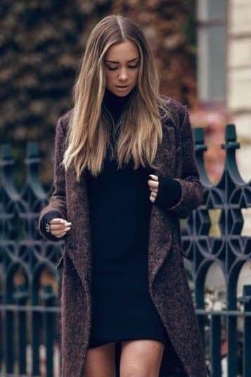 Black Turtleneck Dress in Charcoal Burgundy Coat